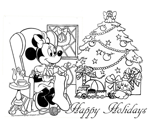 Minnie Mouse Christmas Colouring Pages