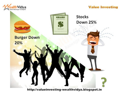 Slide shows people celebrating when prices of burgers are down but weeping when prices stocks are down