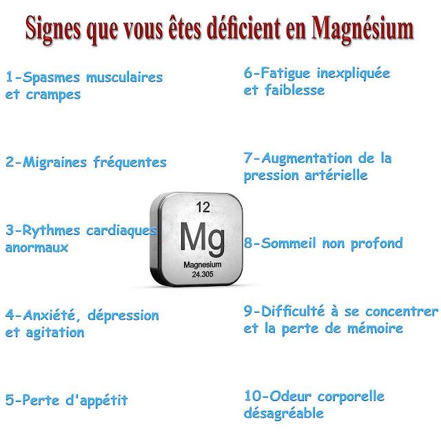 10 Signes que vous êtes déficient en Magnésium