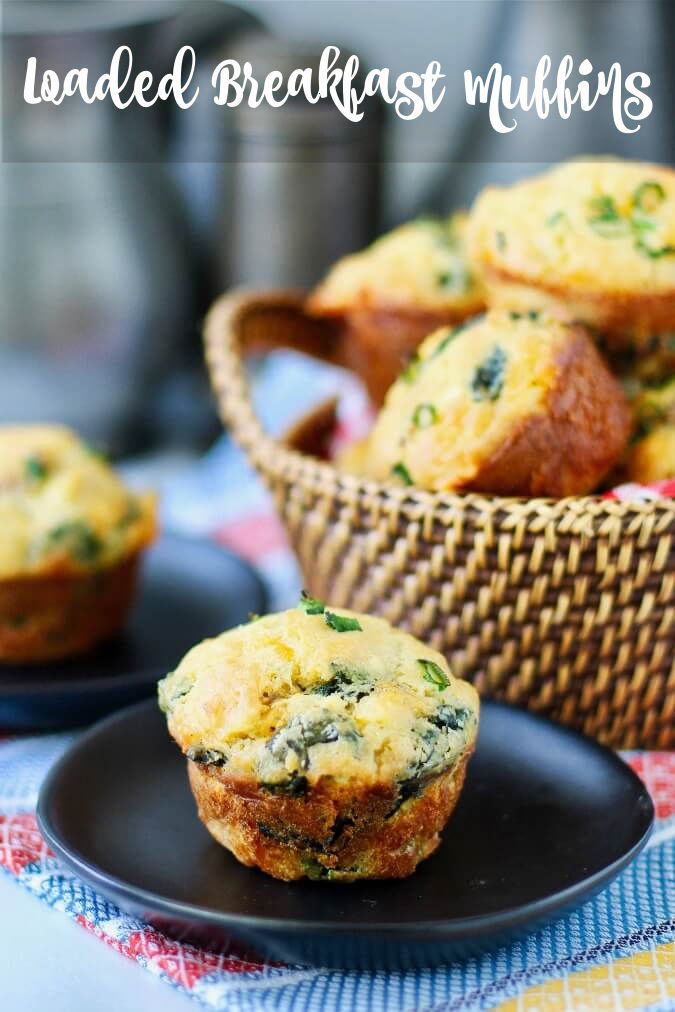 Loaded Breakfast Muffins with sausage, cheese, spinach and apple