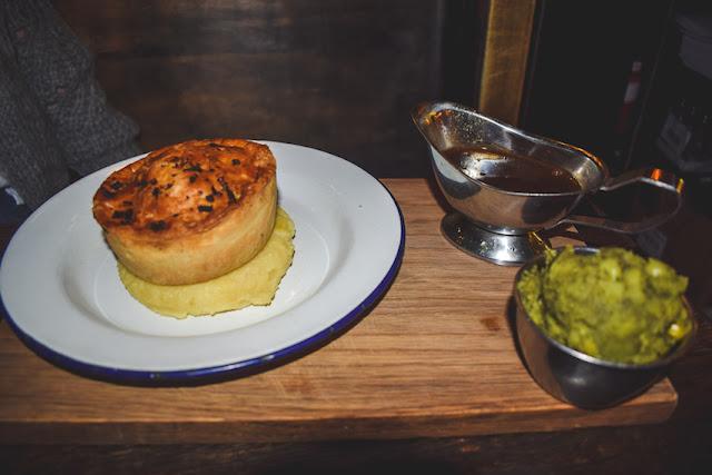 Pieminister Moo pie with mash, mushy peas and gravy