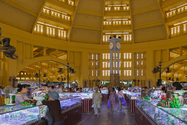 people shopping at Central Market in Phnom Penh Cambodia