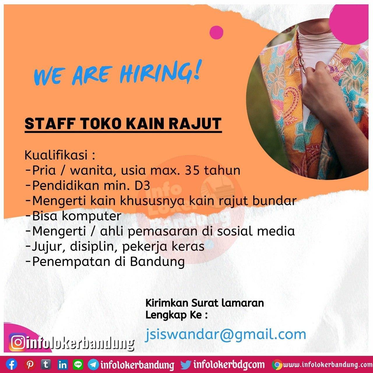 Lowongan Kerja Staff Toko Kain Rajut Bandung Juli 2020