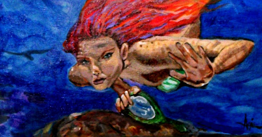 A Mermaids Mirror 16x20 oil on canvas board