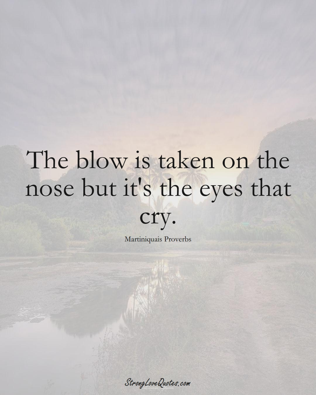 The blow is taken on the nose but it's the eyes that cry. (Martiniquais Sayings);  #CaribbeanSayings