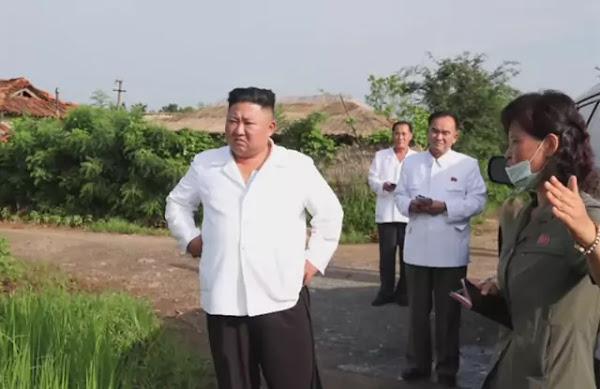 Kim Jong Un inspects flood-damaged area in Taechong-ri, Unpha County, North Hwanghae Province