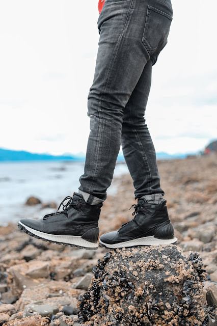 Leo Chan wearing ECCO Exostrike Boots in Icy Strait Point Hoonah, Alaska