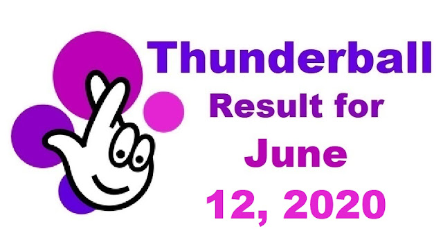 Thunderball Results for Friday, June 12, 2020