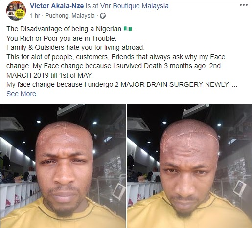 You Rich or Poor You Are In Trouble - Malaysia-Based Man Narrates How His Blood Brother Almost Killed Him After He Returned To Nigeria