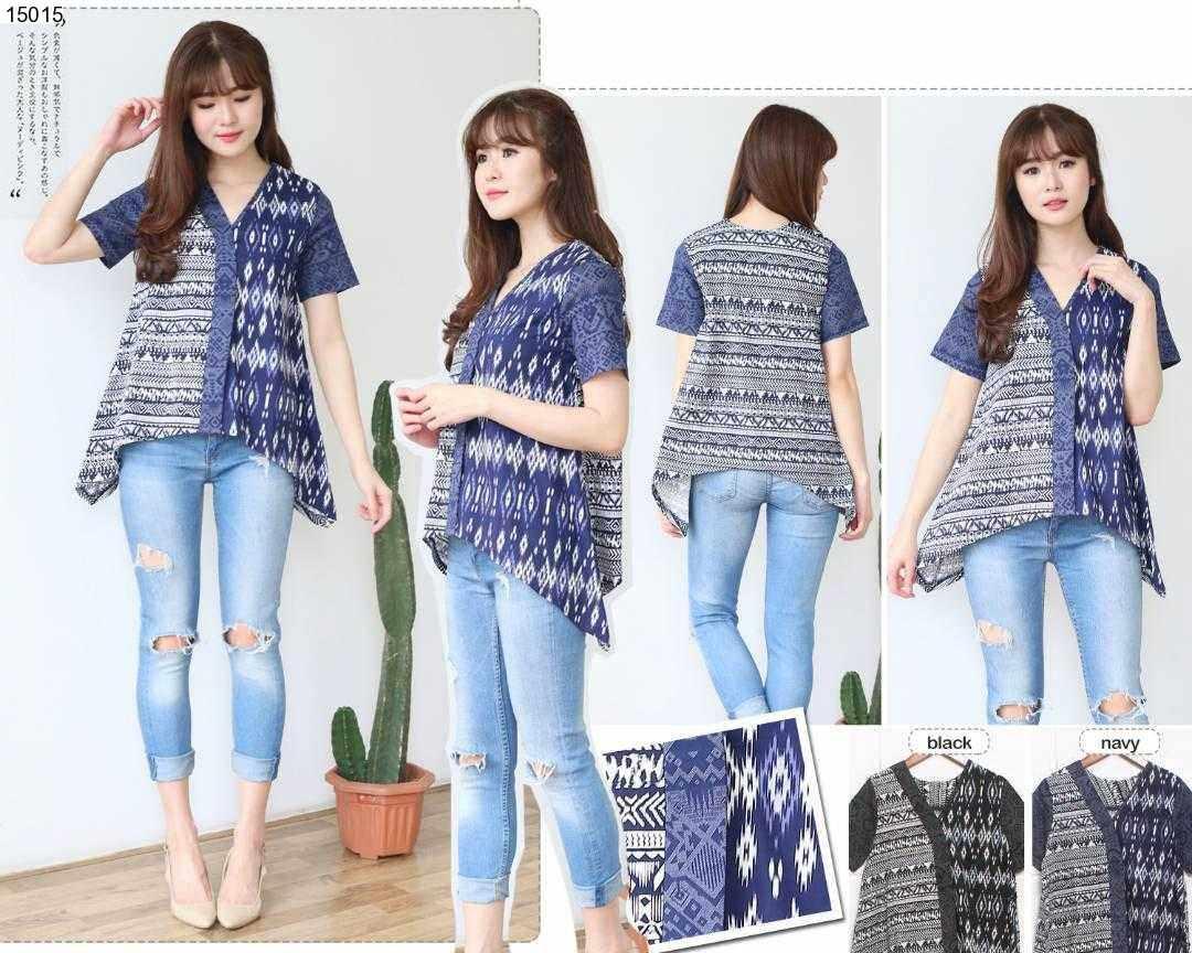 Jual Baju Batik Sachie Asymetris Batik Blouse - 15015