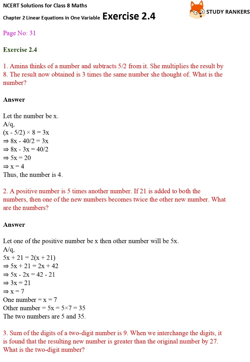 NCERT Solutions for Class 8 Maths Ch 2 Linear Equations in One Variable Exercise 2.4 1