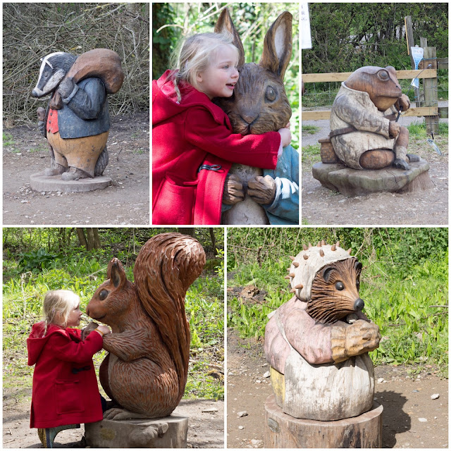 Tommy Brock, Peter Rabbit, Jeremy Fisher, Squirrel Nutkin, Mrs Tiggywinkle on Langdon Nature Reserve