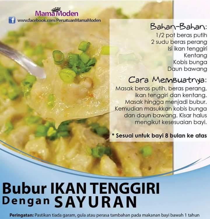Resepi Makanan Bayi : Bubur Ikan Tenggiri & Sayuran ~ CikguNorazimah
