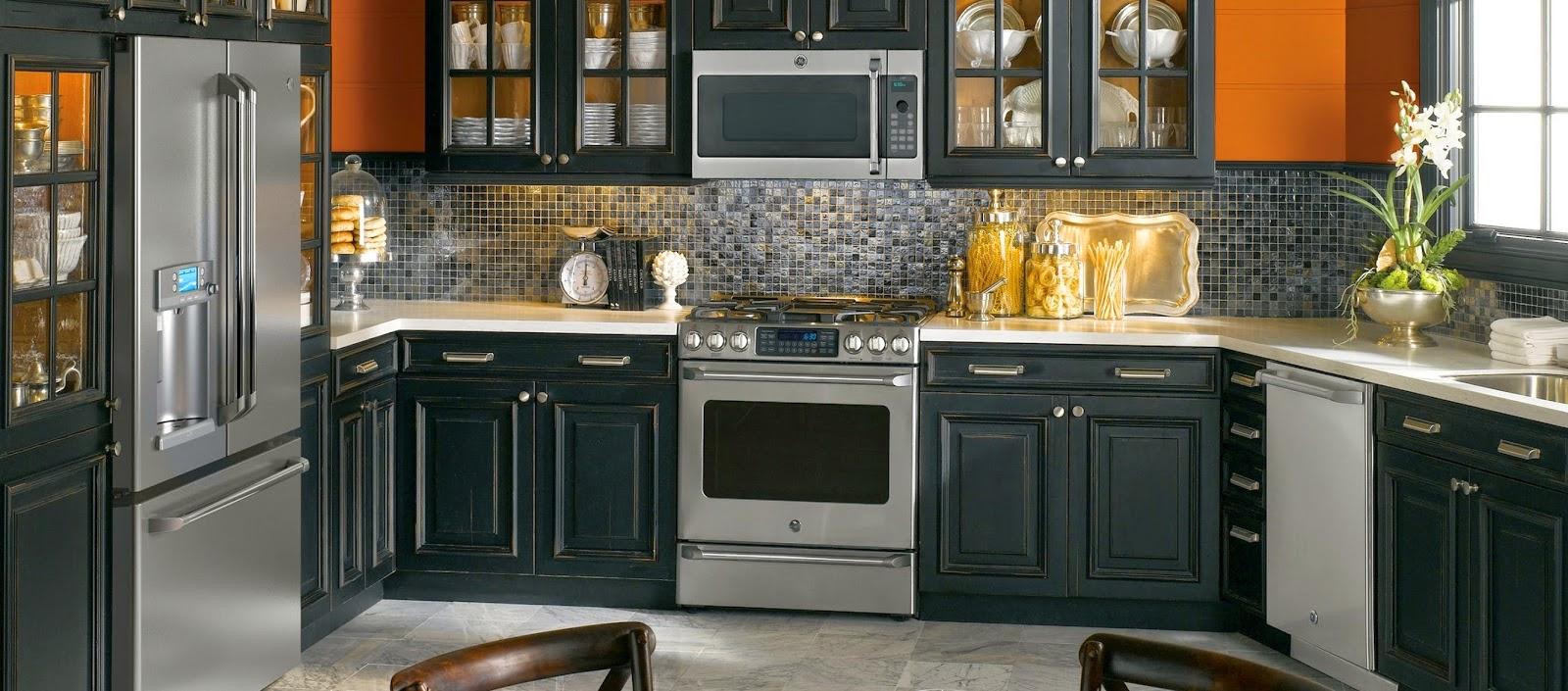 Contemporary Kitchen Ideas with Black Appliances