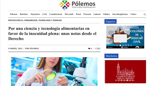 Captura del artículo en el Portal Pólemos