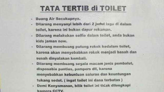 15 Pengumuman Lucu 'Tata Tertib di Toilet' Ini Bikin Ngakak Sampai Mules