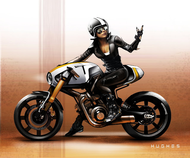 Concept Cafe Racer - Illustration Aaron Hughes