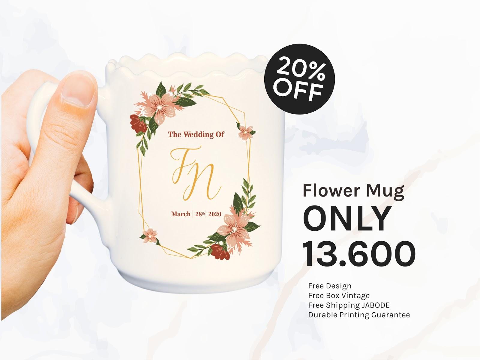 PROMO PAKET SOUVENIR PERNIKAHAN MUG FLOWER