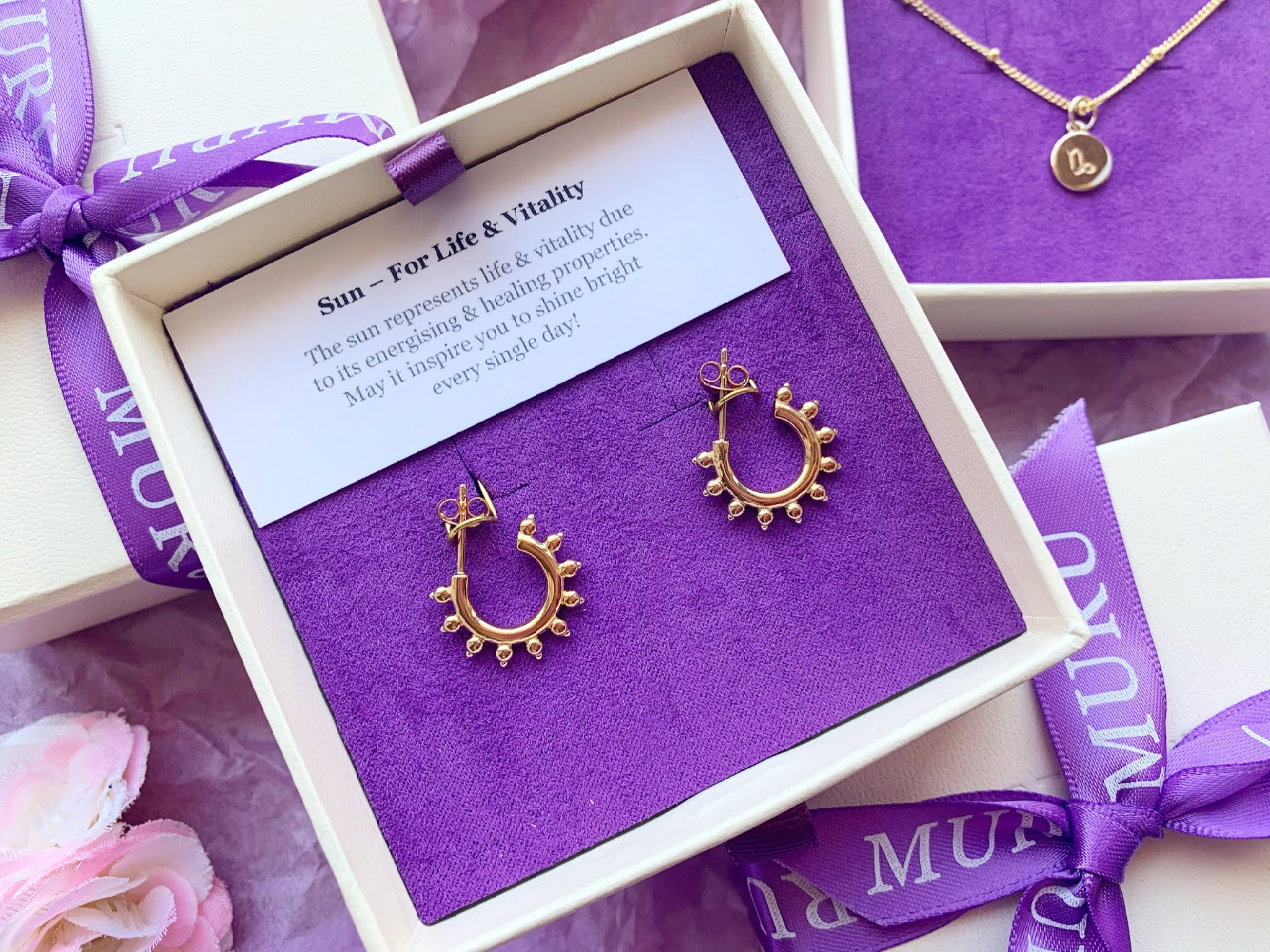 Muru Jewellery Life&Vitality Sun Stud Hoop Gold Earrings in their gift wrapped box