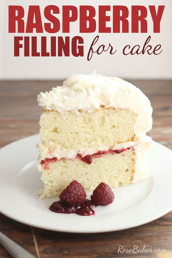 Delicious and easy, this Raspberry Filling for Cakes is perfectly tart and sweet and spreads beautifully between layers of white or chocolate cake. It also keeps well in the frig or freezes well for weeks. #raspberry #filling #cakes #raspberryfilling #weddingcake #cake