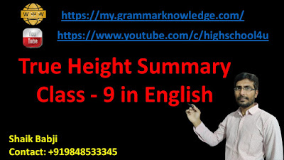 True Height Summary Class - 9 in English
