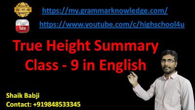 True Height Summary Class - 9 in English