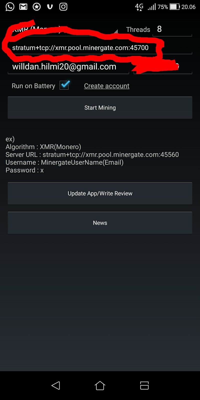 Cara mining dengan AA miner di android