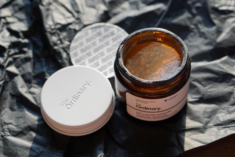The Ordinary L- Ascorbic Acid Powder Review Indian Skin Texture Jar