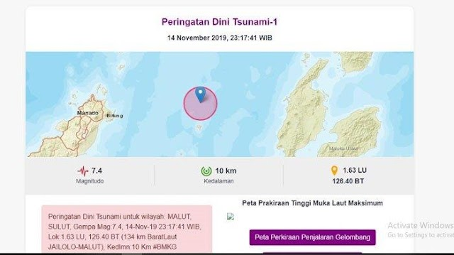 Gempa Bumi 7,1 SR Guncang Malut Hingga Sulut, Berpotensi Tsunami