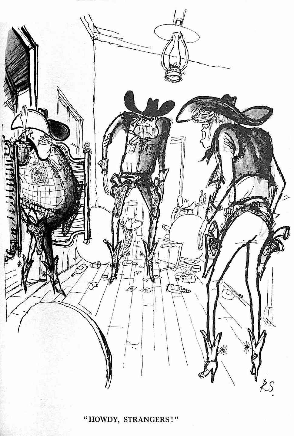 Howdy, Strangers! the USA presidential race between Richard Nixon and John F. Kennedy is complicated with the USSR's Nikita Krustief, by cartoonist Ronald Searle