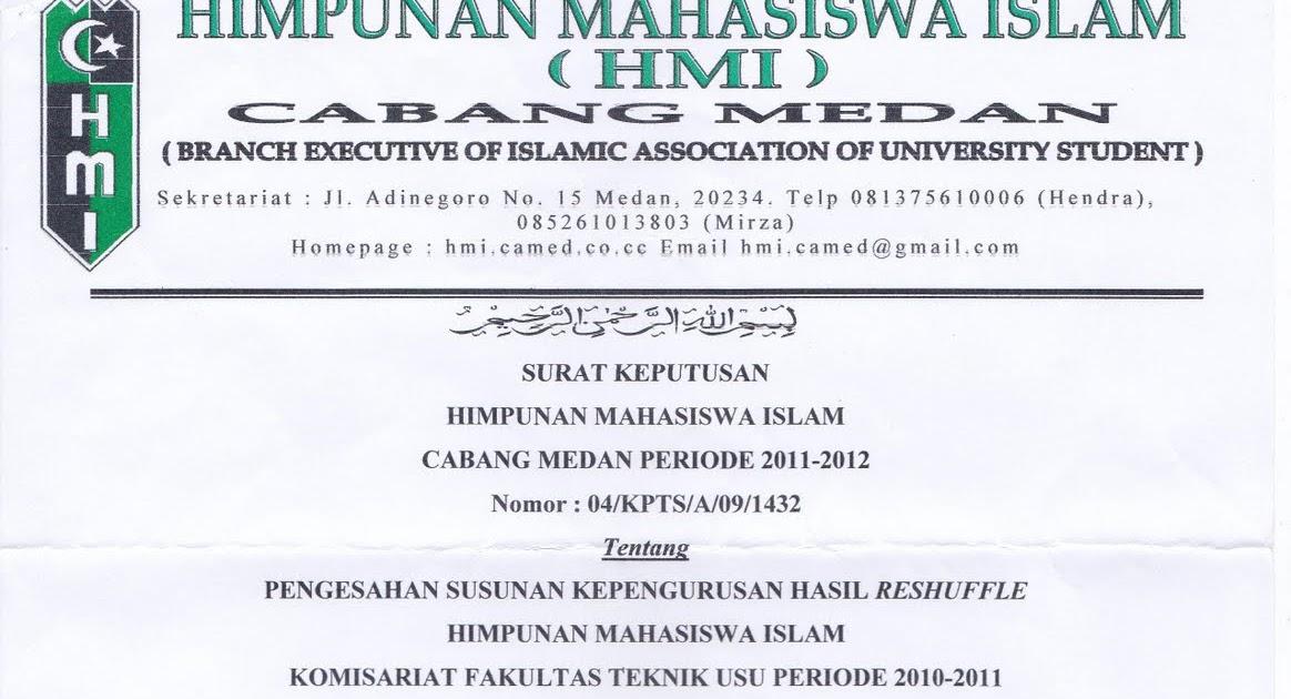 Contoh Surat Himpunan Mahasiswa Islam Johorer