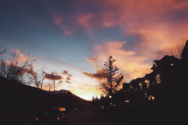 Sunset in Town of Banff