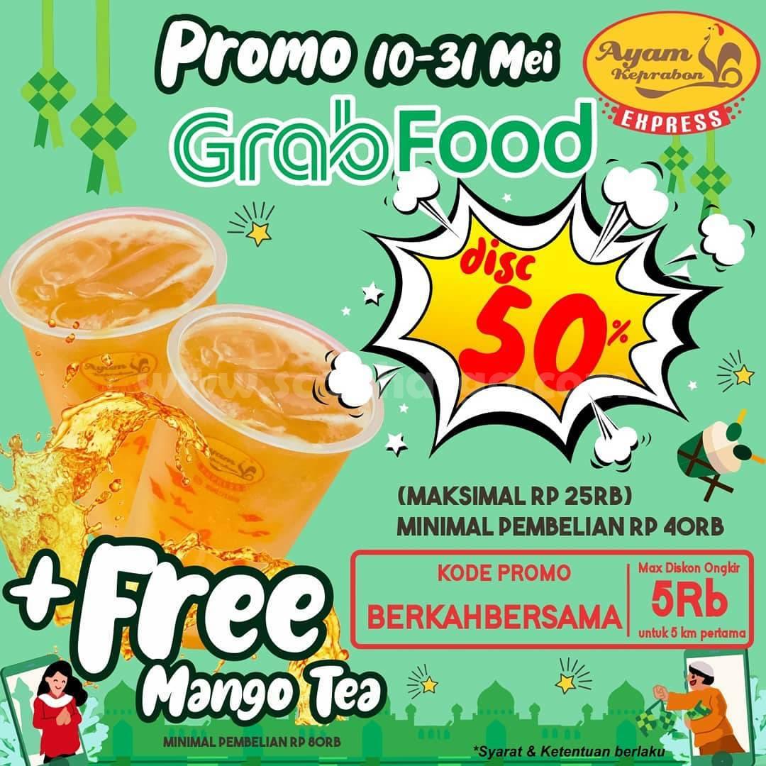 Promo AYAM KEPRABON DISKON 50% + FREE Mango Tea via GRABFOOD
