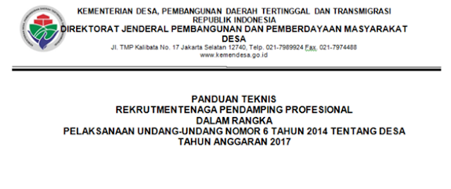 Info Rekrutment Tenaga Pendamping Desa Kementerian PDTT Republik Indonesia !