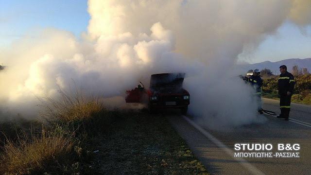 Πυρκαγιά σε αυτοκίνητο στην Εθνική Οδό Κορίνθου Τριπόλεως