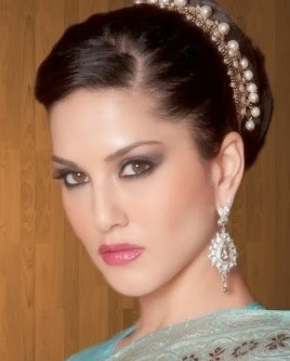 Sunny Leone Pearl Studded Hair Band And Gemstone Earrings