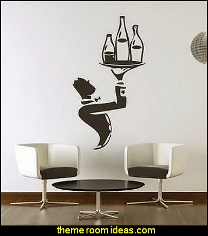 Waiter With Wine Bottles Wall Sticker Chef Wall Decal Art