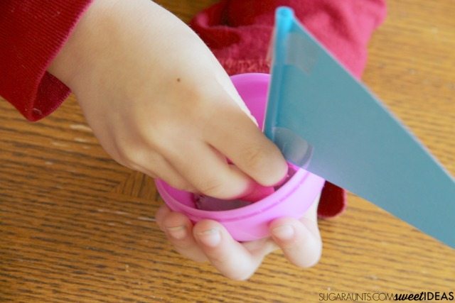 Plastic egg boats with an oral sensory motor component for proprioception input to the mouth.