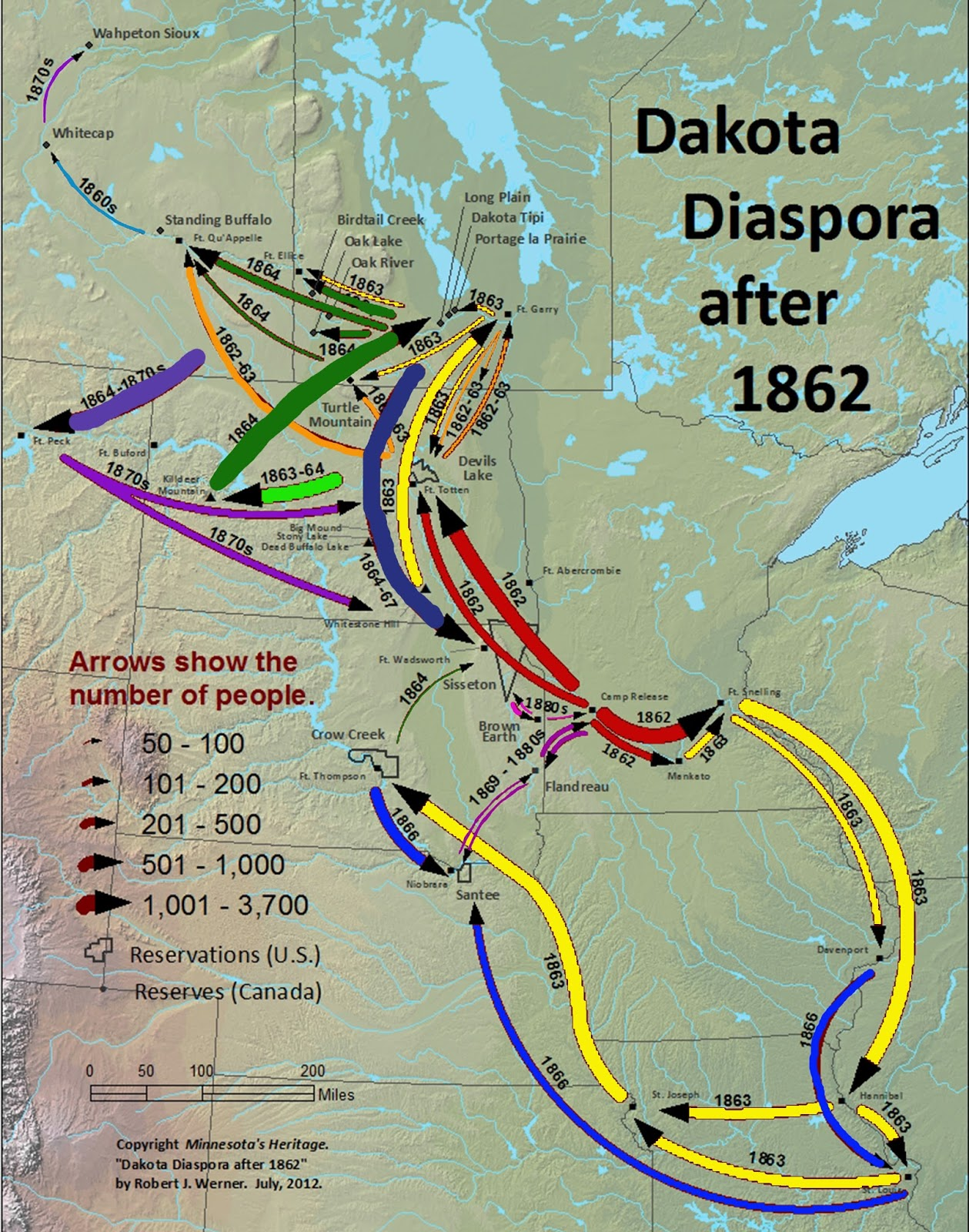 in my research i came across dakota diaspora after 1862 which was published in a 2012 issue of minnesota s heritage magazine created by geographer