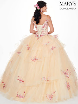 Mary's Quinceanera Ball Gown New Design Champagne/pink color dress back side