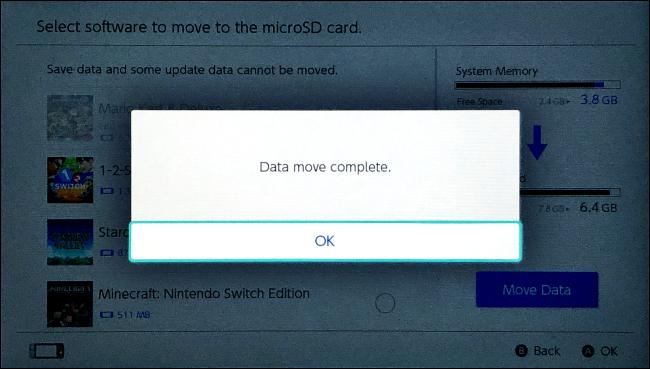 اكتملت عملية نقل البيانات على Nintendo Switch