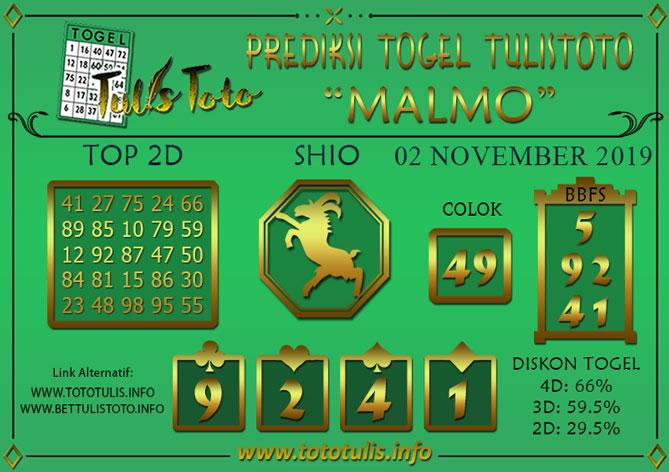 Prediksi Togel MALMO TULISTOTO 02 NOVEMBER 2019