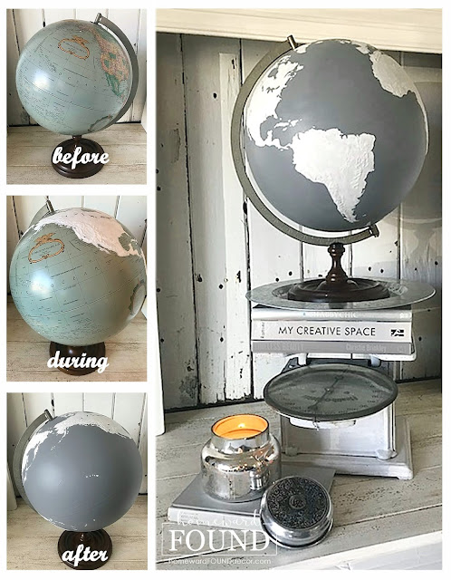 winter,white,up-cycling,trash to treasure,salvaged,painting,neutrals,junk makeover,DIY,diy decorating,Disney,Disneyland,crafting,color palettes,chalkboards,boho,industrial,Pantone 2021,Pantone color of the year,Pantone Ultimate Gray,Ultimate Gray,gray,painted globe,old globe makeover,It's A Small World,embellished globe,winter home decor,winter decor.