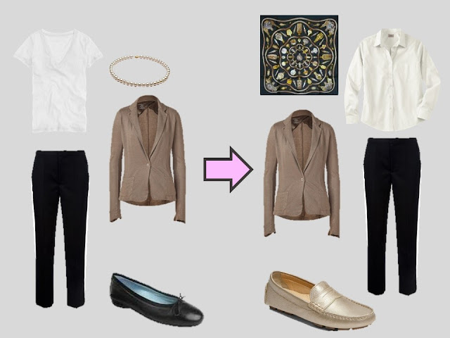 replacing a white tee shirt with a white blouse in a brown and black outfit
