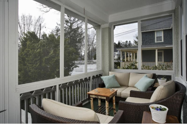 screened-in front porch of Sears No 137 at 7 Orchard Street, Mendham, New Jersey