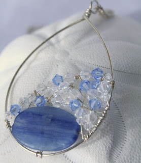 Ada (noble, happy): Argentium, Sterling silver, Kyanite, Swarovski crystals, wire wrapped OOAK necklace :: All Pretty Things