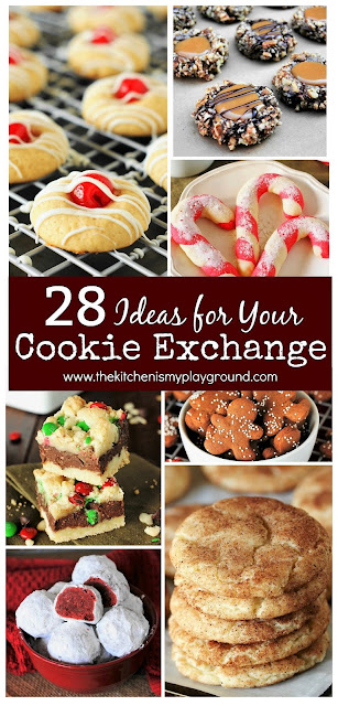 28 Cookie Exchange Ideas ~ These Christmas treats will be the hit of any get-together! Check out this collection of ideas for your cookie exchange to find so many beauties to share.  www.thekitchenismyplayground.com