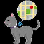 GPS付きの首輪をつけた猫のイラスト