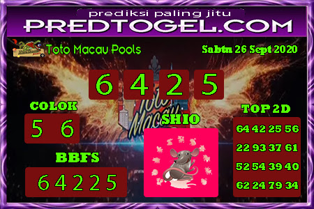 Pred Macau Sabtu 26 September 2020