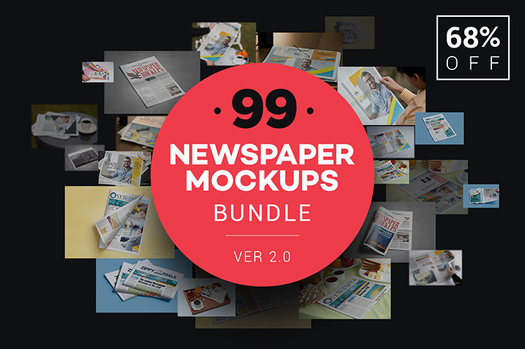 99 Newspaper Advert Mockups Bundle